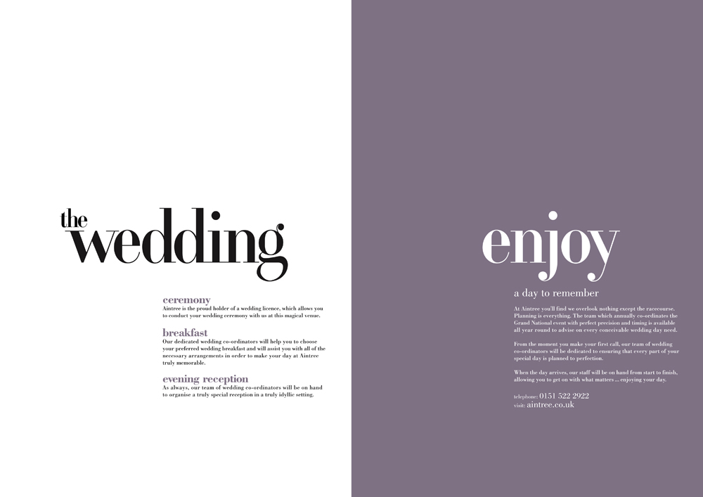 Aintree Weddings: Brochure spread 2